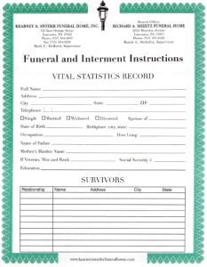 Lancaster Funeral Pre Arrangement Form
